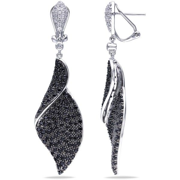 Ice Black Rhodium Created White Shire Spinel Earrings 465 Liked On