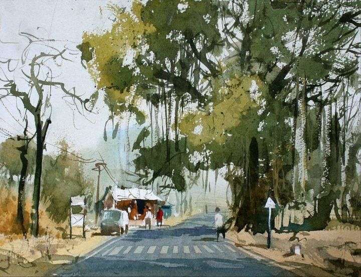 Mandel Malarvadani Landscape Painters Amazing Watercolor Landscape Painting By India Watercolor Landscape Paintings Watercolor Landscape Landscape Paintings