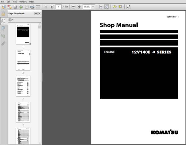 Komatsu 12v140e 3 Series Diesel Engine Shop Manual Pdf Download Komatsu Diesel Engine Manual