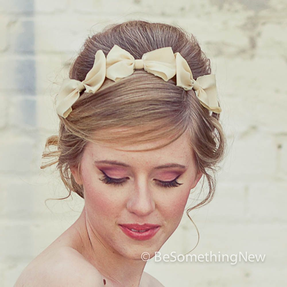 Three Little Bows Headband for Adults, Women Hair Accessory