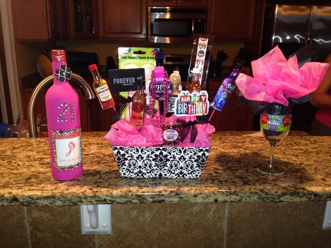 21st Birthday gift basket. I made this for my stepdaughter for her 21st birthday.