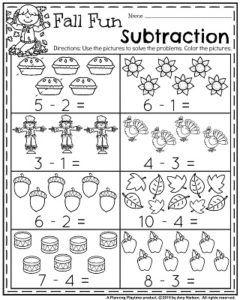 Fall Kindergarten Worksheets for November | Actividades matemáticas ...