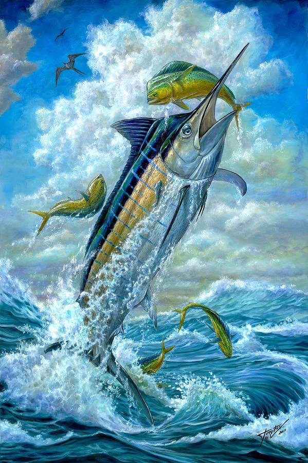 DEEP SEA FISHING BLUE MARLIN BOAT JUMP Painting Canvas art Prints