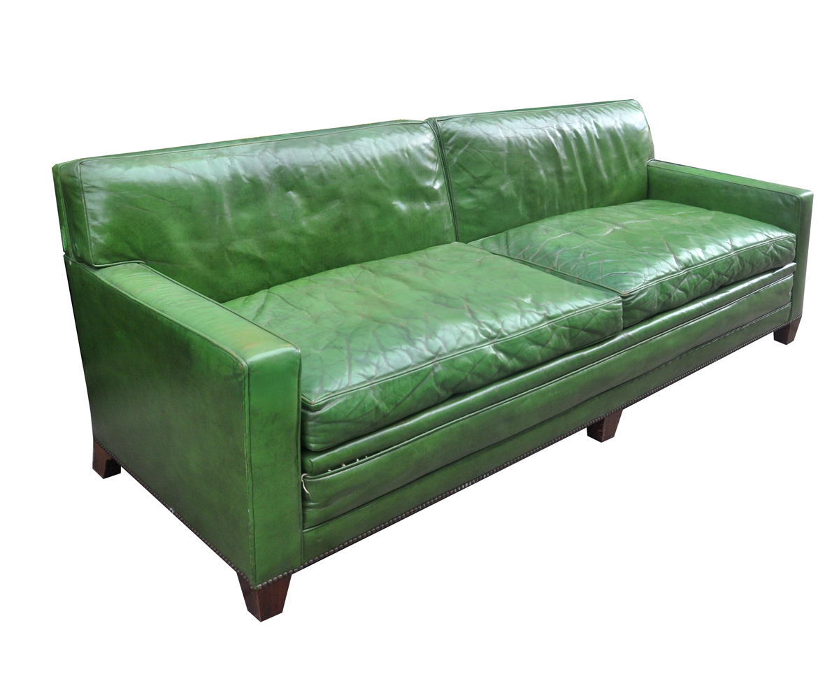 Baker Vintage Green Leather Sofa On Chairish Com Green Leather