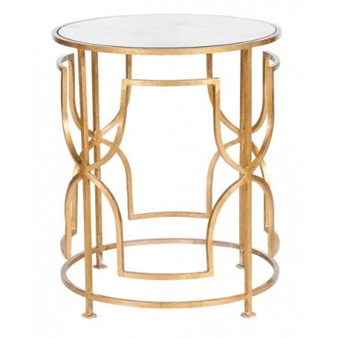 Worlds Away Lenora Gold Leaf Round Side Table With Antique Mirror Top
