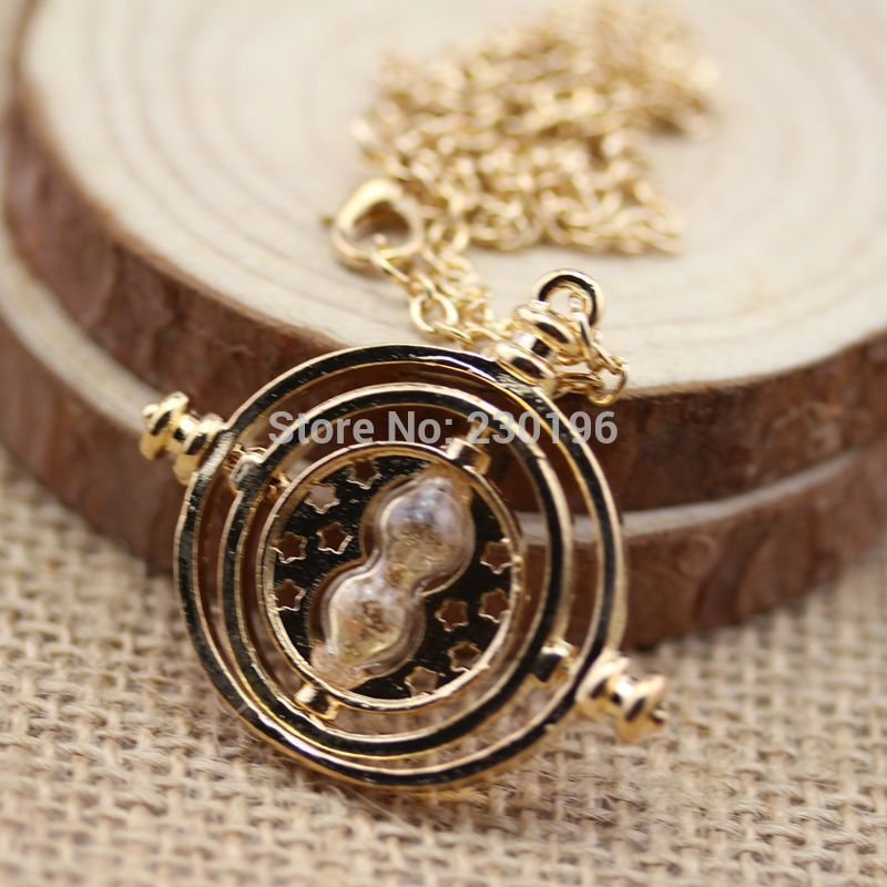2015 Harry Potter Time Turner Neckaces Hermione Granger Rotating Spins Gold Plated Hourglass Choker