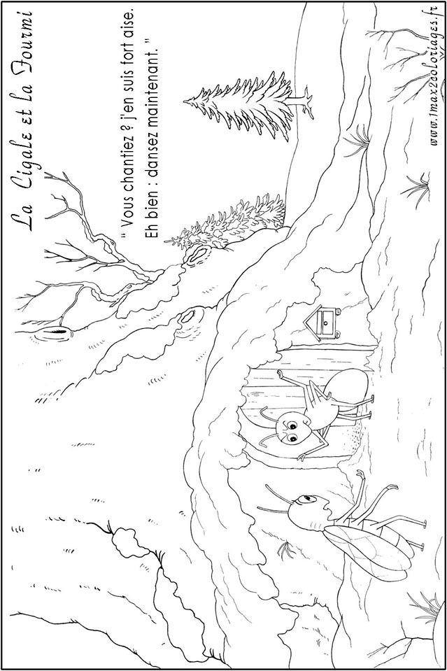 Coloriages de la fable la cigale et la fourmi coloring - Dessin de cigale ...