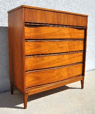 1950s 1960s Vintage Mid Century Modern High Boy Dresser With 5 Five Drawers And Clean Danish Modern Furniture Mid Century Modern Furniture High Boy Dresser