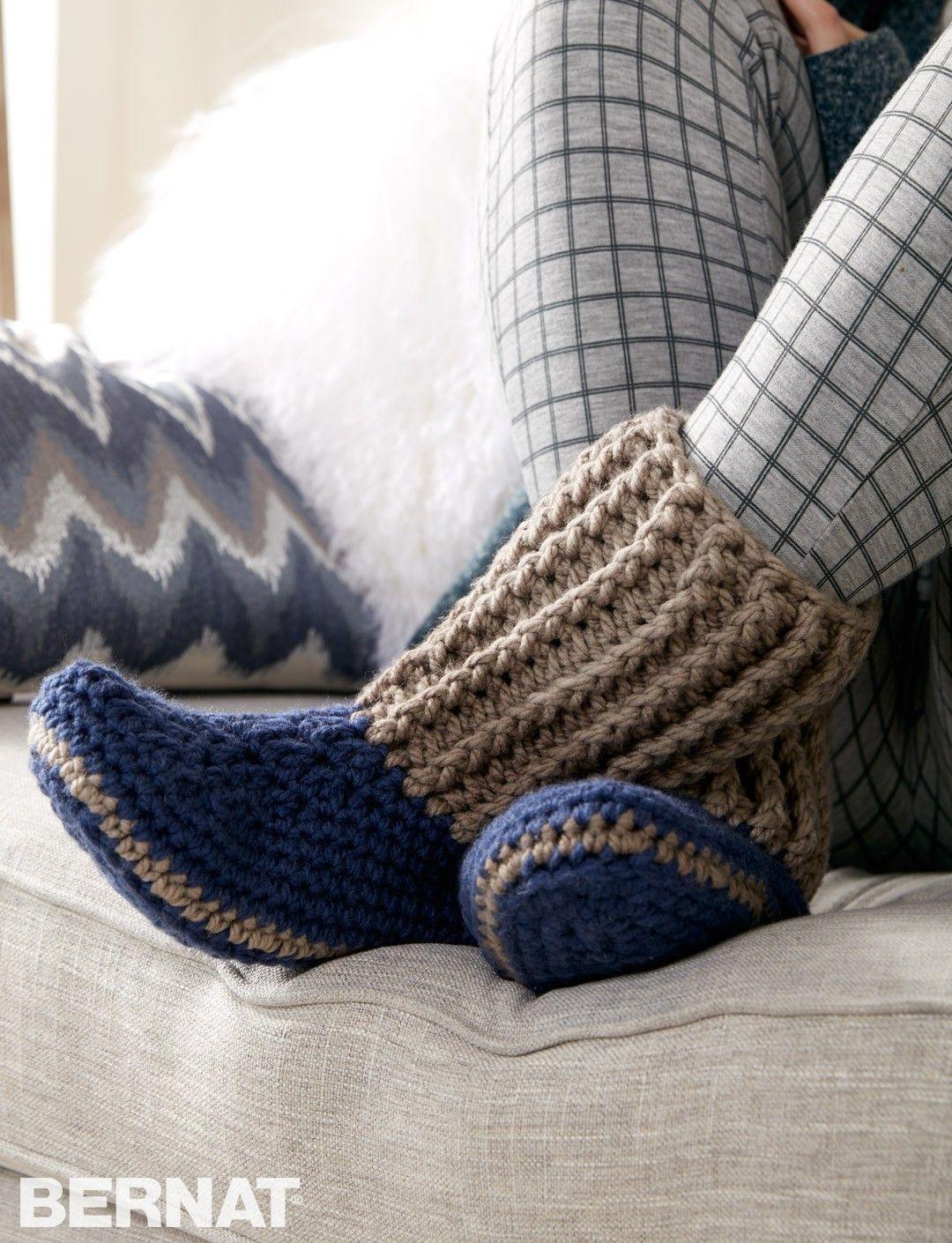 Yarnspirations.com - Bernat Slipper Socks - Patterns ...