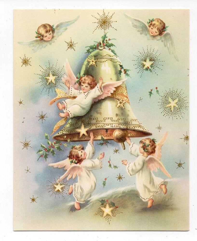 Vintage Hallmark Christmas Greeting Card Angel Girls Ringing Bell