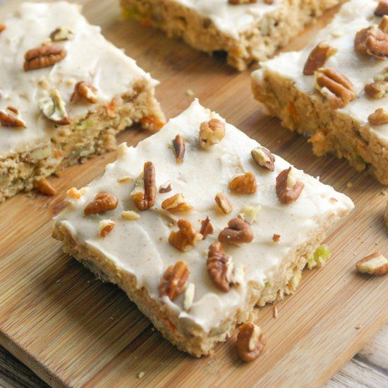 These spiced zucchini bars are thick, chewy and soft. The carrots and zucchini guarantee they'll stay very moist.
