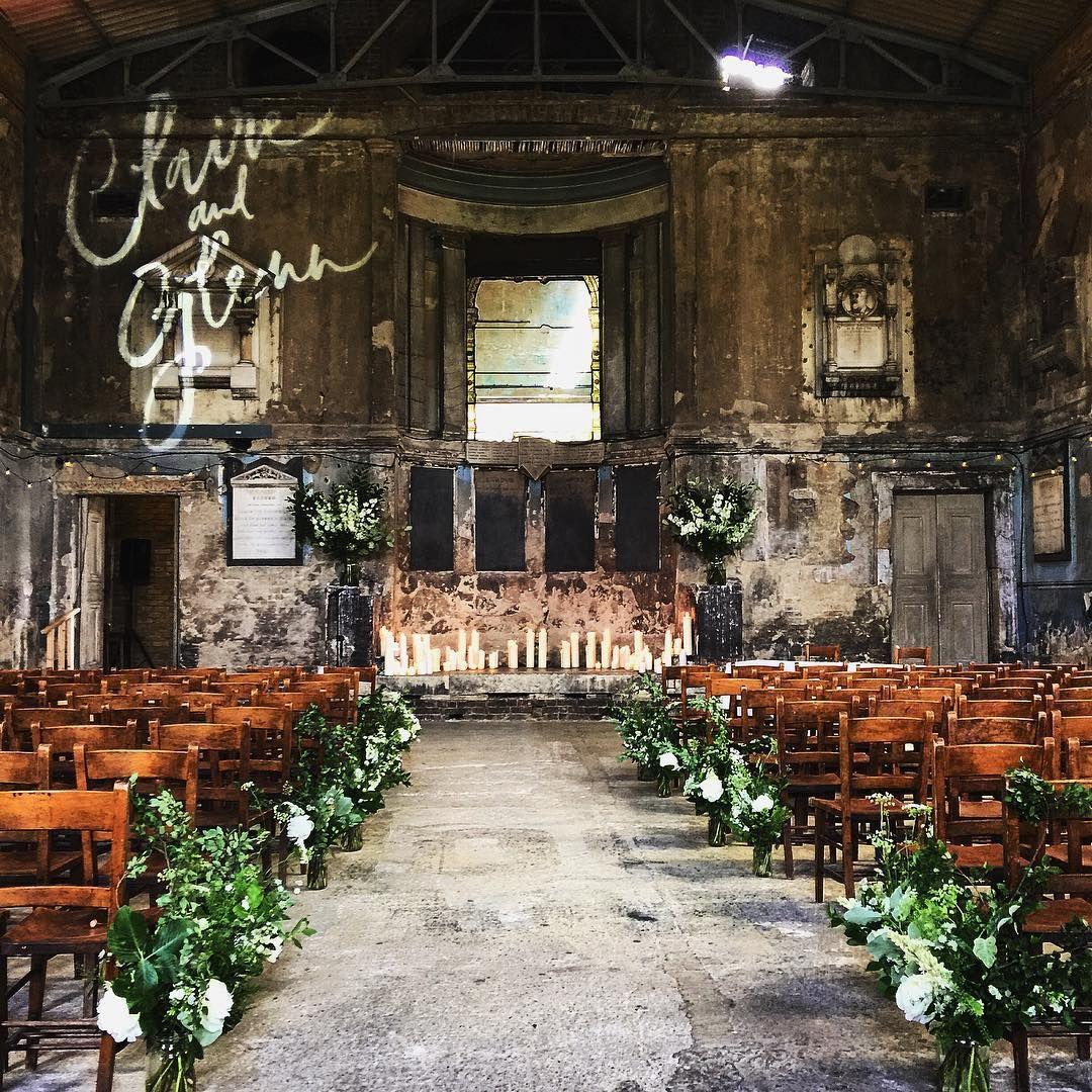 Chapel Altar Wedding Decorations: Modern Calligraphy
