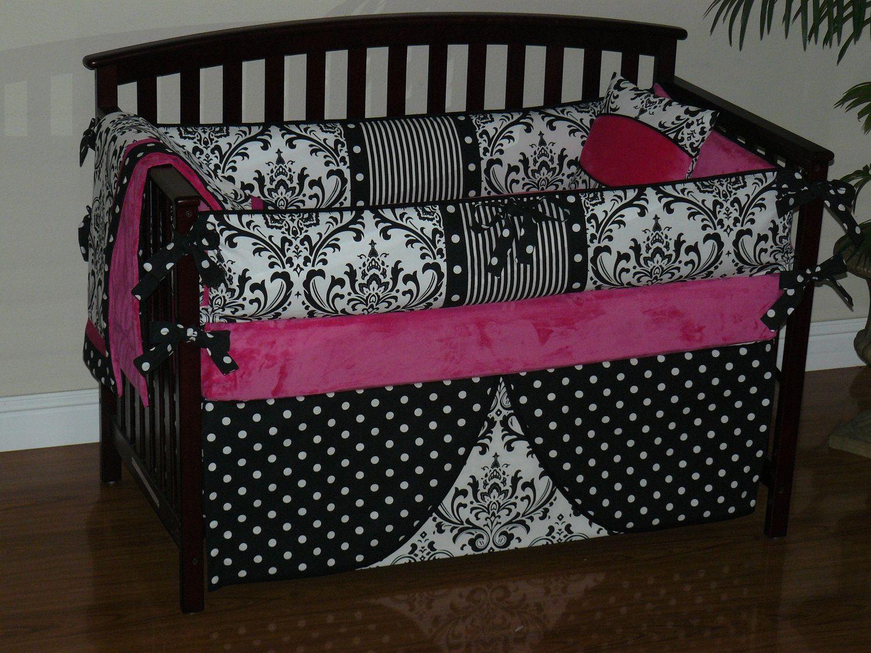 Custom Crib Baby Bedding 3pc Set Hot Pink Black And White Damask