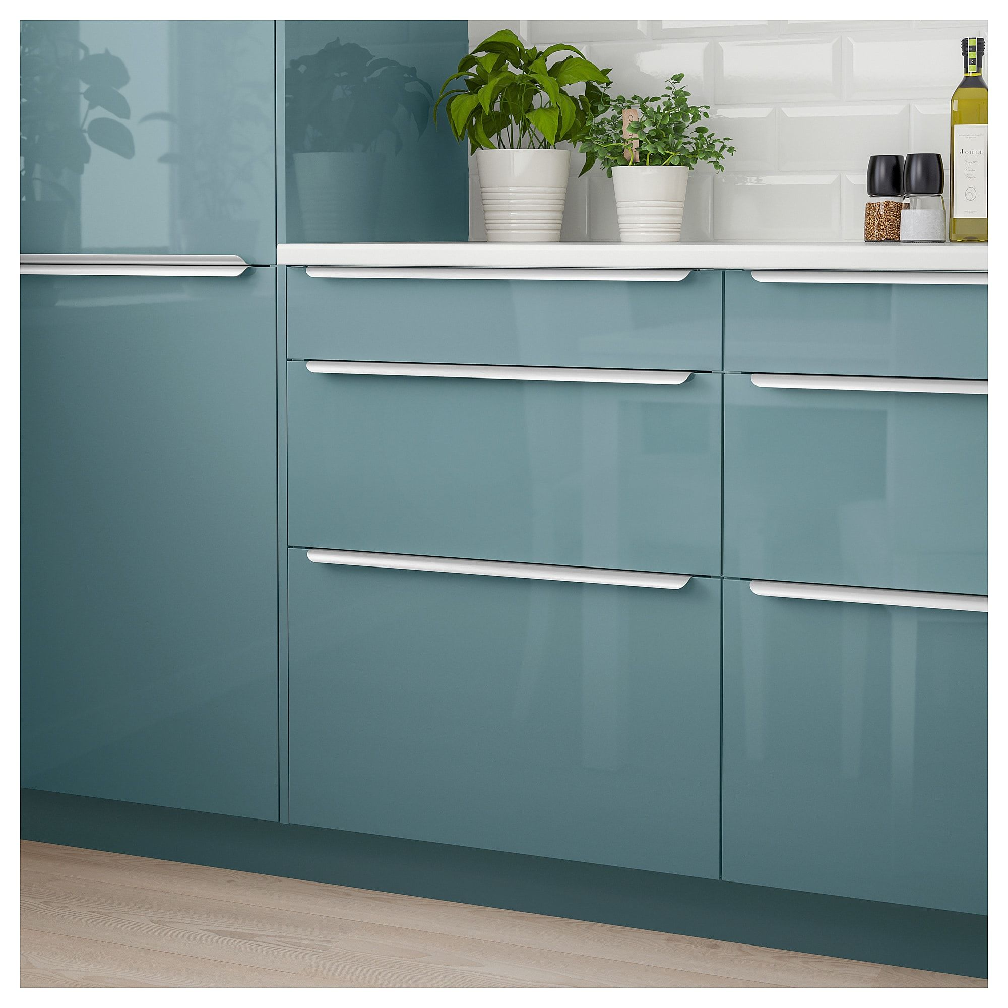 IKEA - KALLARP Drawer front high gloss gray-turquoise images
