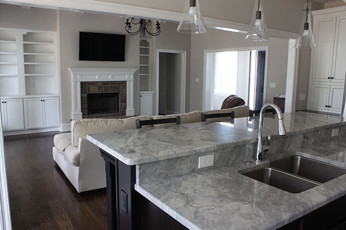 White Fireplace With Black Granite Part - 33: A Tour Of Our New House - A Blank Slate And Mixed Metals. Super White  GraniteSuper White QuartziteBlack ...