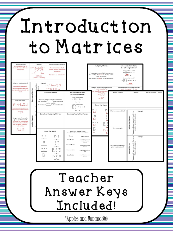 Introduction To Matrices Includes The Following Foldable Activities What Is A Matrix What Are Matrices Math College Algebra Interactive Notebook Activities