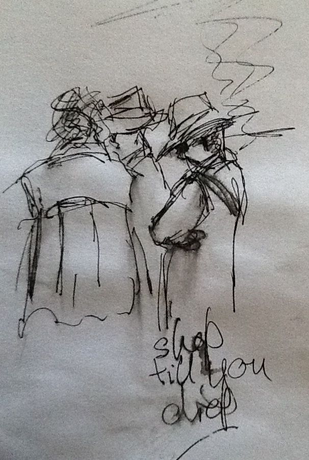 Rapid sketch, Stockport market place.