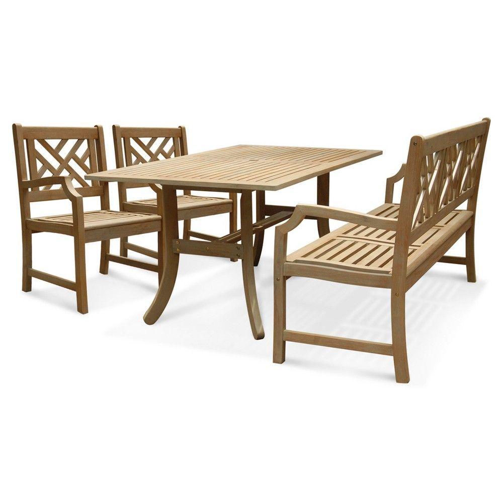 Vifah Renaissance Rectangular Table - Bench- Arm Chair Outdoor Hand-scraped Dining Set - Grey