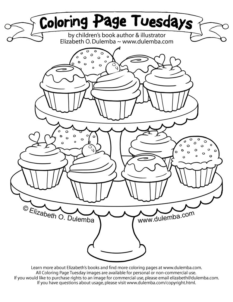 Free coloring page cupcakes-coloring-pages-125. Delicious cupcakes ...
