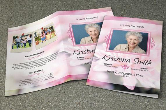 Funeral Program Template Obituary Template Photoshop Mac Etsy Funeral Program Template Funeral Templates Program Template