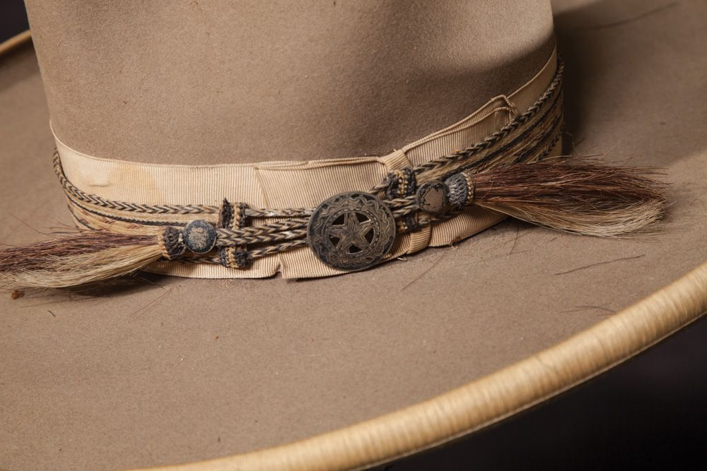 12e6062dded An antique horse hair hatband with silver mount on an old Stetson cowboy hat.  Not mine