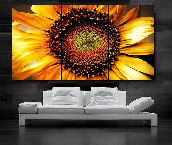 LARGE 30x 60 3 Panels Art Canvas Print beautiful Sunflower