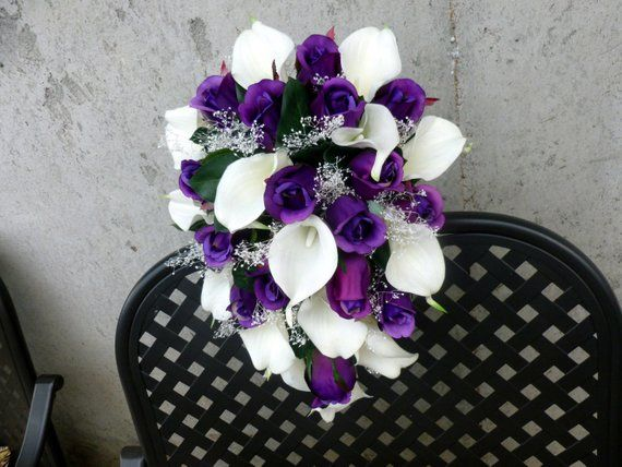 Cascading Purple rose white calla lily bridal bouquet with baby's beath #bridalbouquetpurple