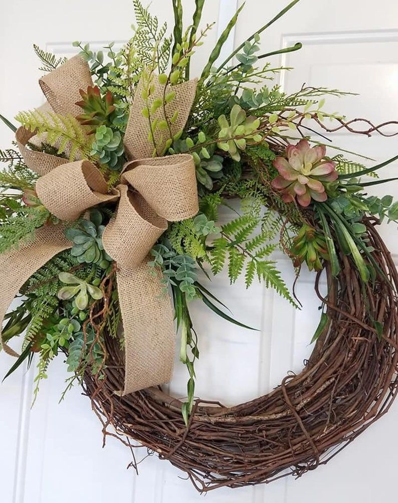 Photo of Succulent Wreath with Initial, Everyday Wreath, Summer Wreath, Spring Wreath, Succulent Burlap Wreath, Succulent Grapevine Wreath
