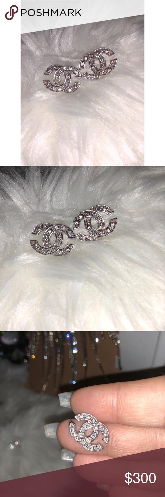 Silver CHANEL logo earrings AUTHENTIC Chanel logo