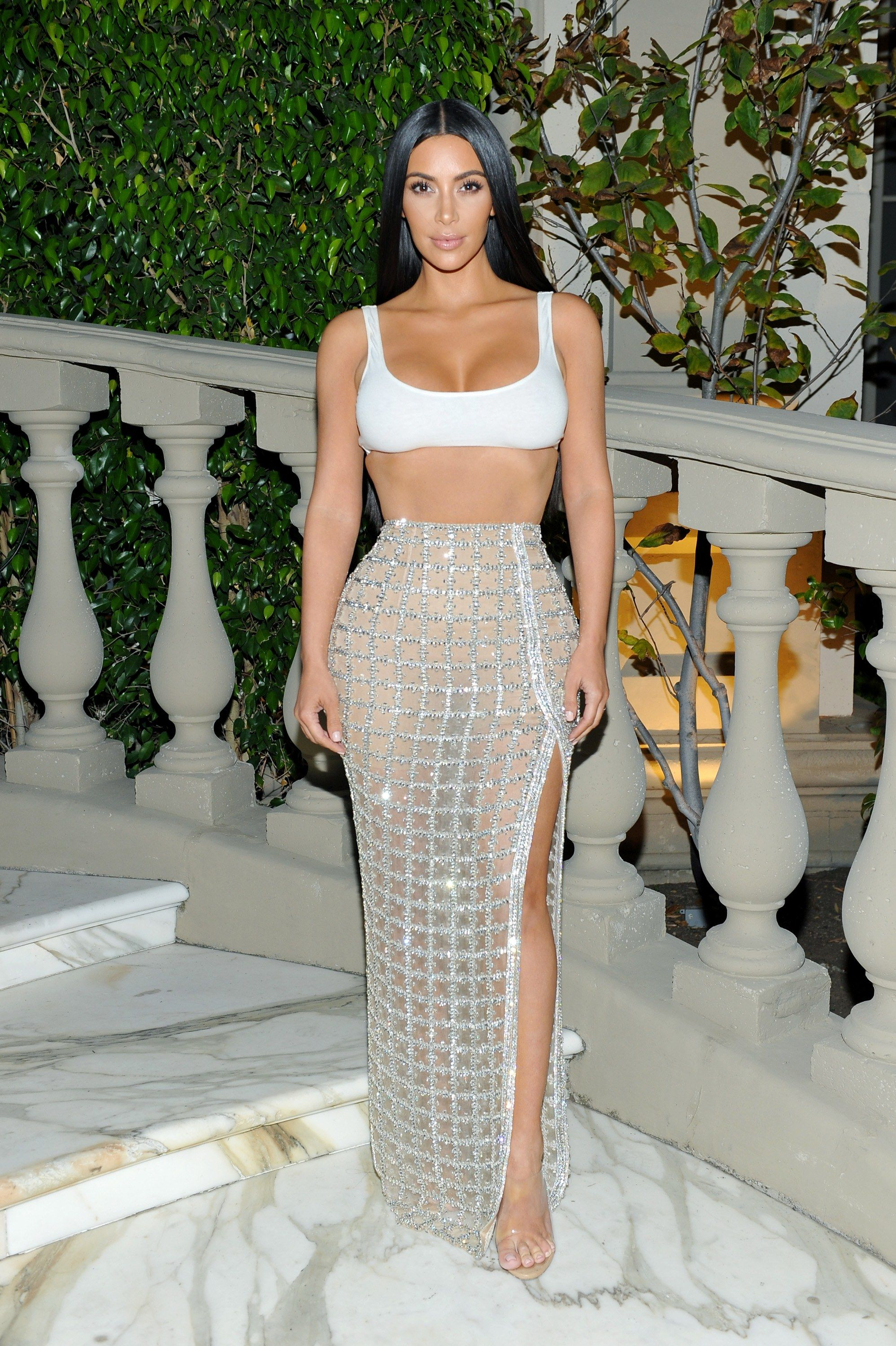 Kim kardashian west turns a sports bra yes into a chic party top