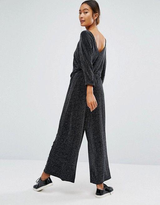 33cd50fc5d75 Monki Glitter Wide Leg Jumpsuit