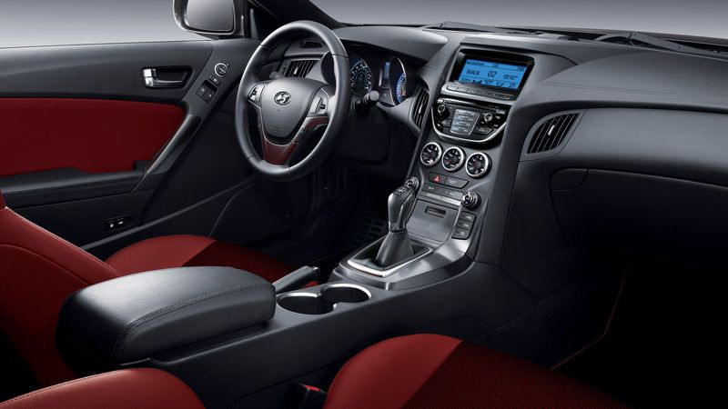 2013 GENESIS COUPE IN RED LEATHER INTERIOR