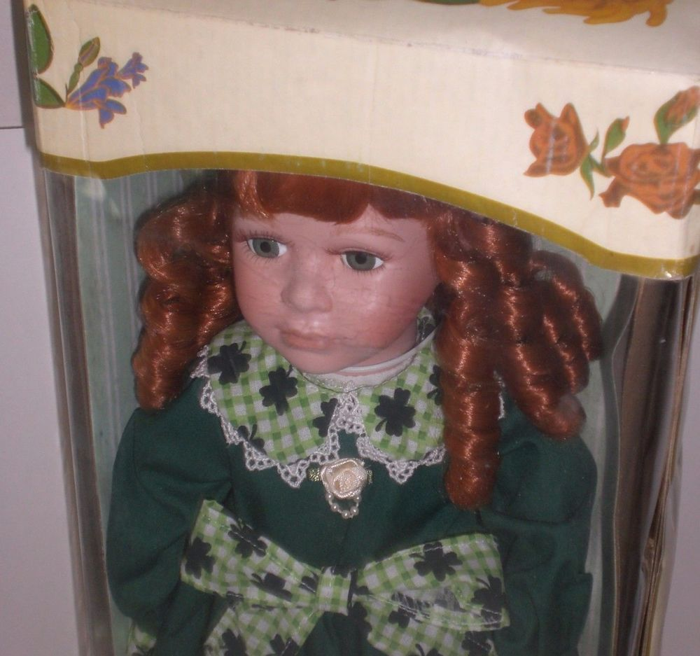 "Porcelain Colleen Irish Doll 16"" Collectible Kingstate 4 Leaf Clover"