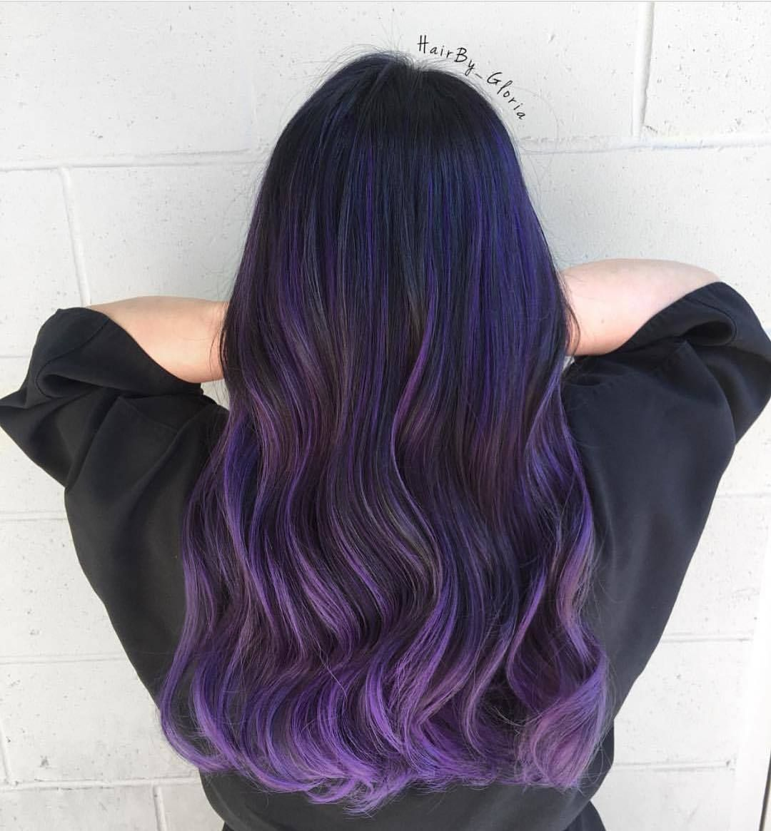 Black And Lavender Ombre Long Hair Purple Ombre Hair Ombre Hair Dark Ombre Hair