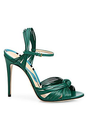 cd68c8f2cba60 Gucci Allie Knotted Leather Ankle-Strap Sandals - Emerald Green ...