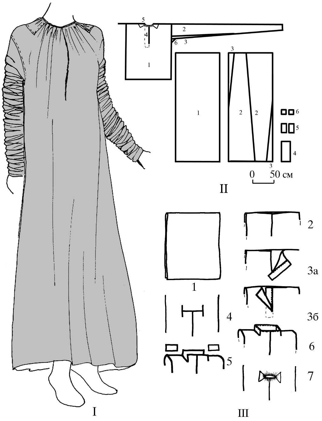 Diagram of gown from 1625 burial of Maria Dologorukaya. Sourced from ...