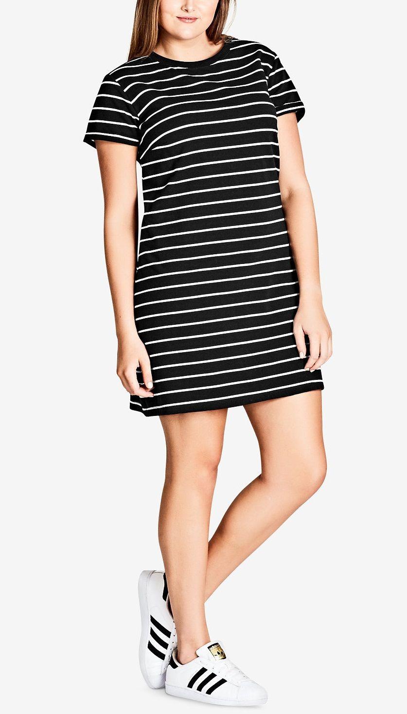 release date official 2019 best Plus Size Striped T-Shirt Dress   Plus Size Fashion ...
