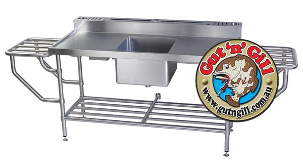Stainless Steel Fish Cleaning Table Sink With Drain Board