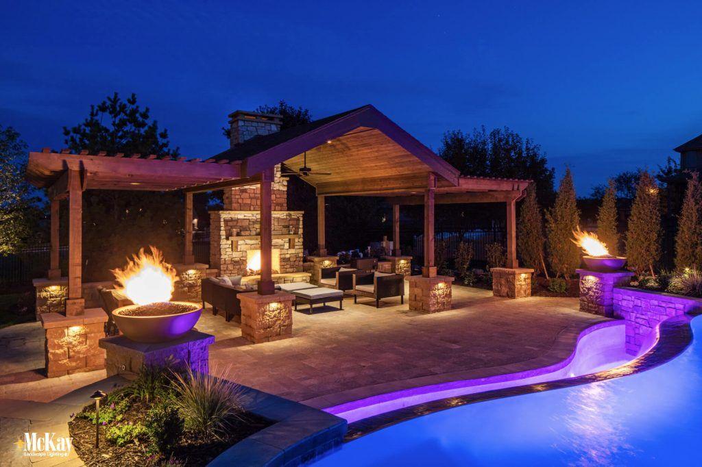 Landscape Lighting Spotlight Resort Style Outdoor Space Backyard Pergola Pergola Lighting Landscape Lighting