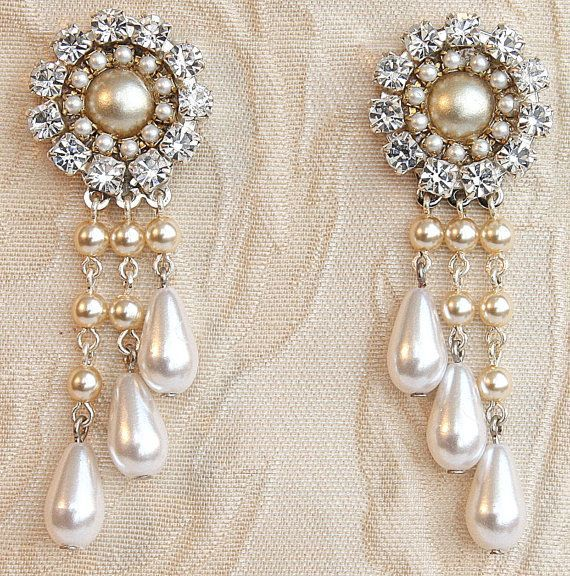 Bridal Chandelier Earrings Jewelry Wedding Drop Vintage Pearl Rhinestone Victorian Silver Swarovski Crystal