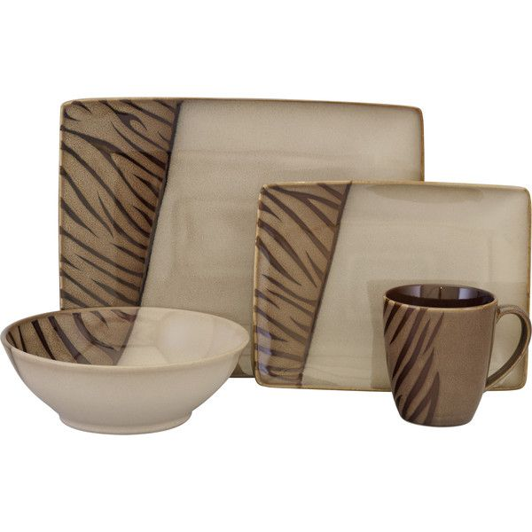 Sango Safari Brown 16-piece Dinnerware Set (Stoneware (£49) ? liked on Polyvore featuring home kitchen u0026 dining dinnerware brown brown square ...  sc 1 st  Pinterest & Sango Safari Brown 16-piece Dinnerware Set (Stoneware (£49) ? liked ...