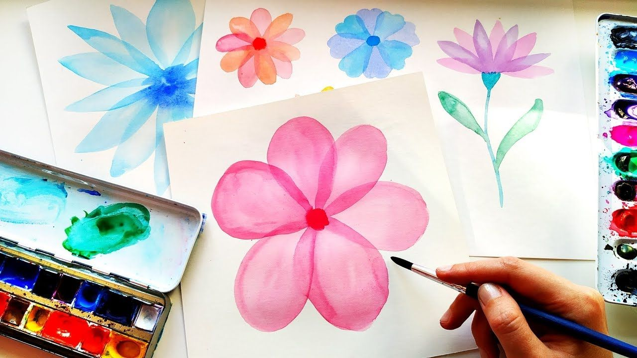 How To Paint Easy Watercolor Layered Flowers Tutorial For