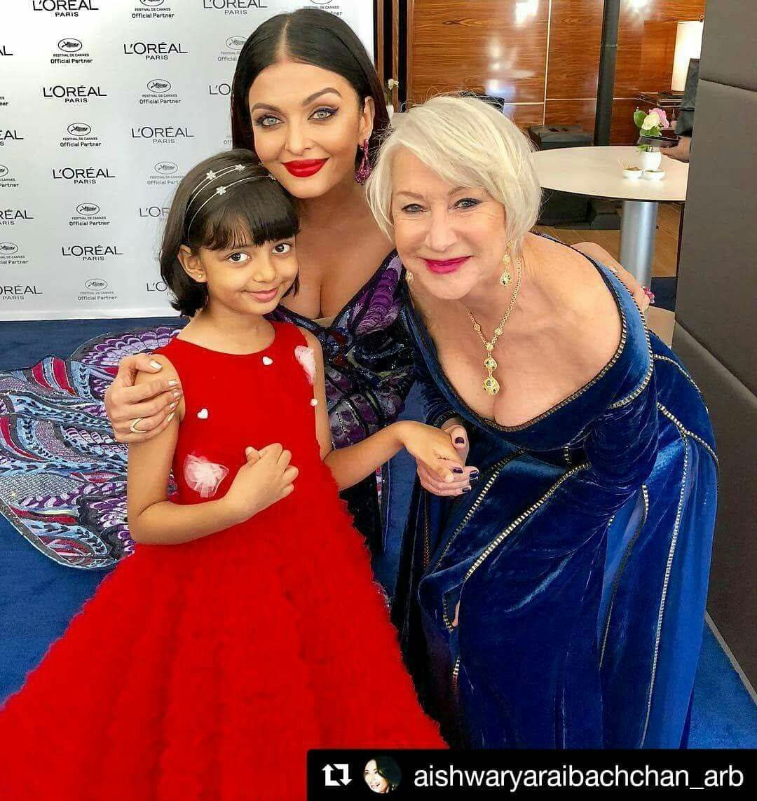 Aishwarya Rai Bachchan With Her Daughter At Cannes 2018 Aishwarya Rai Bachchan Bollywood Celebrities Actress Aishwarya Rai