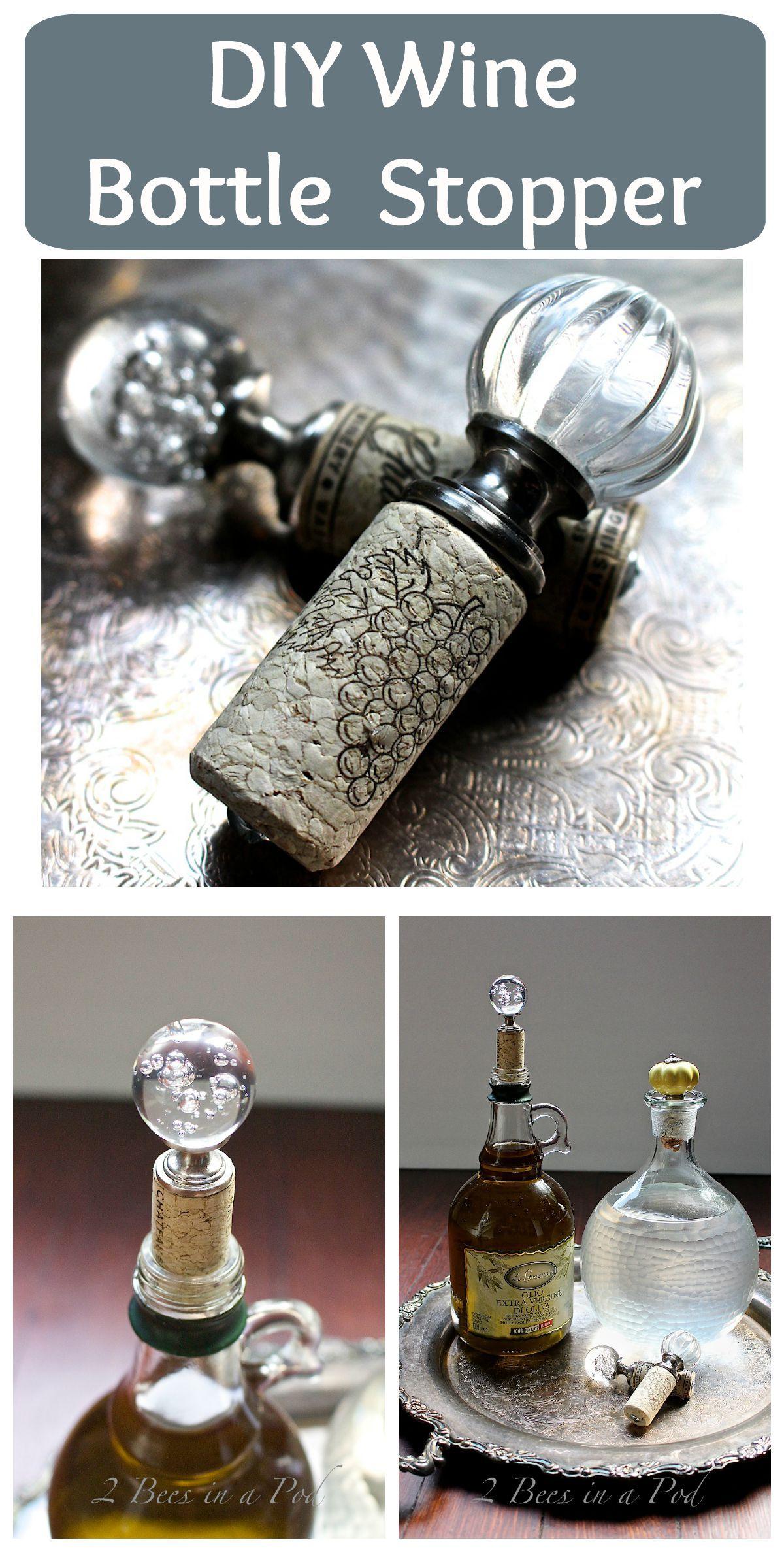 Diy Wine Bottle Stopper 2 Bees In A Pod Wine Bottle Diy Wine Bottle Stoppers Wine Bottle Crafts