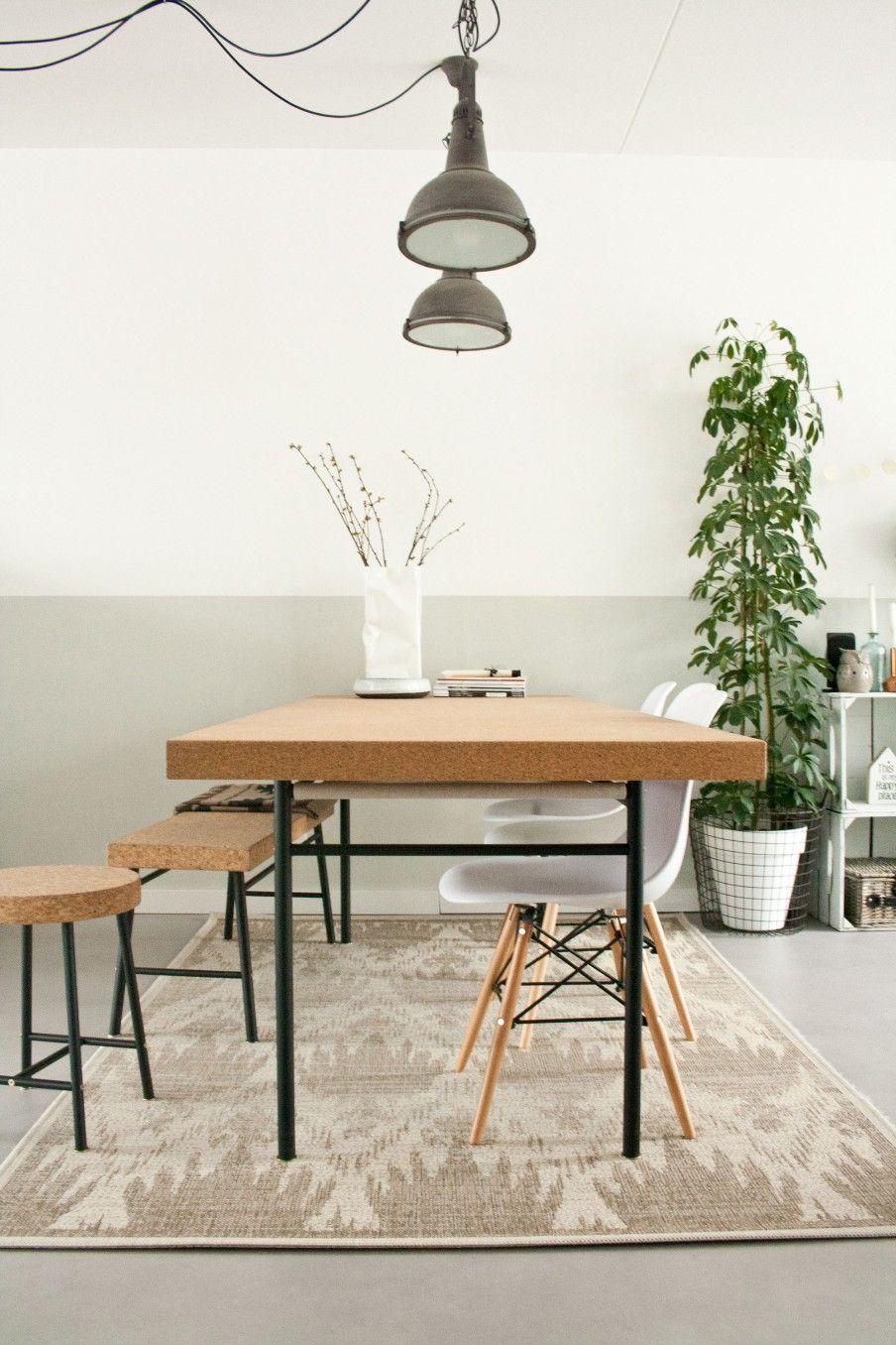 keuken - Eettafel, kruk en bankje Sinnerlig van Ikea, stoelen van ...