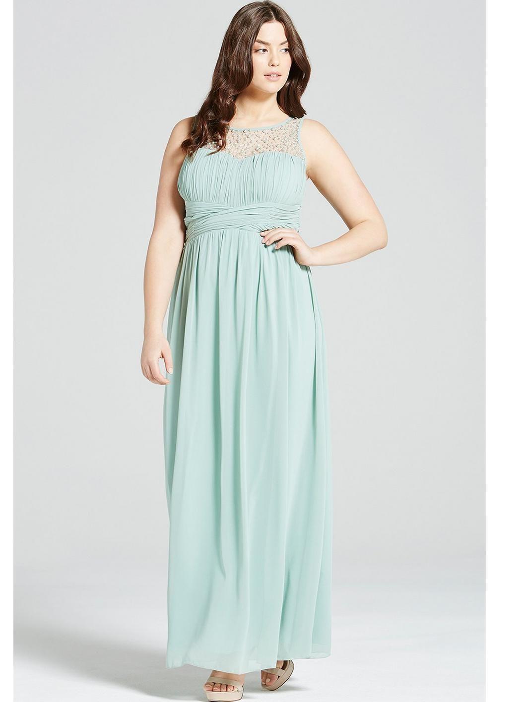 Little Mistress Curve Embellished Maxi Dress - Sage   Sage, Maxi ...