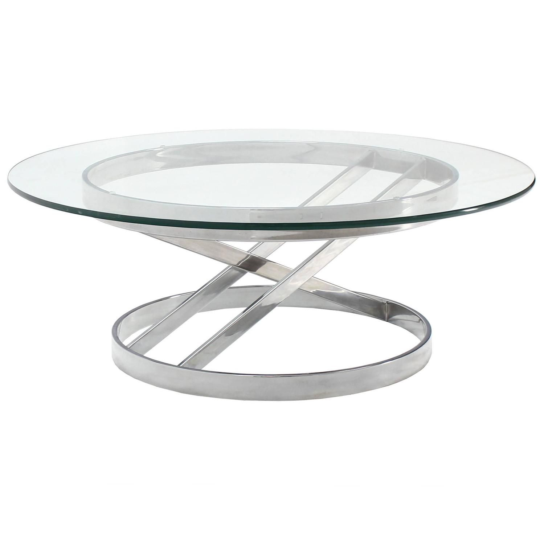 Chrome Base Glass Top Mid Century Modern Coffee Table Moveis De