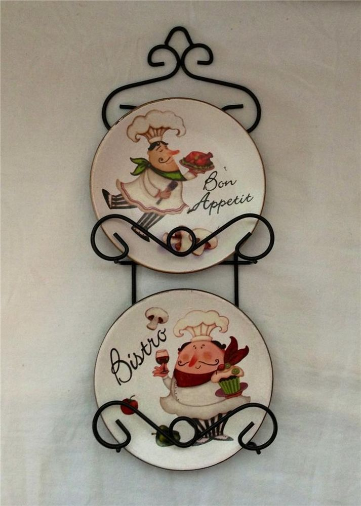 Fat Chef Italian Bistro Wall Hanging 4 Plate Rack Set Home Accent Decor New