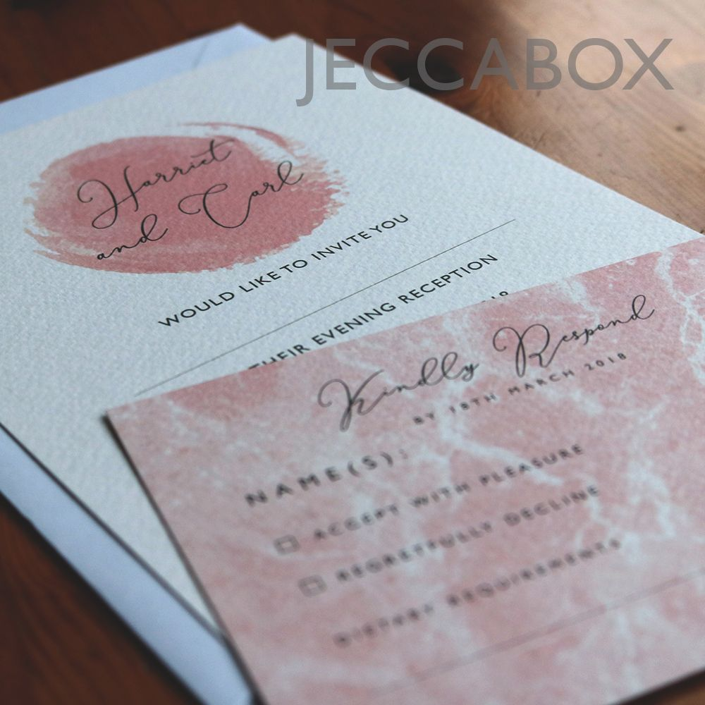 A5 white and pink pastel wedding invitation printed on