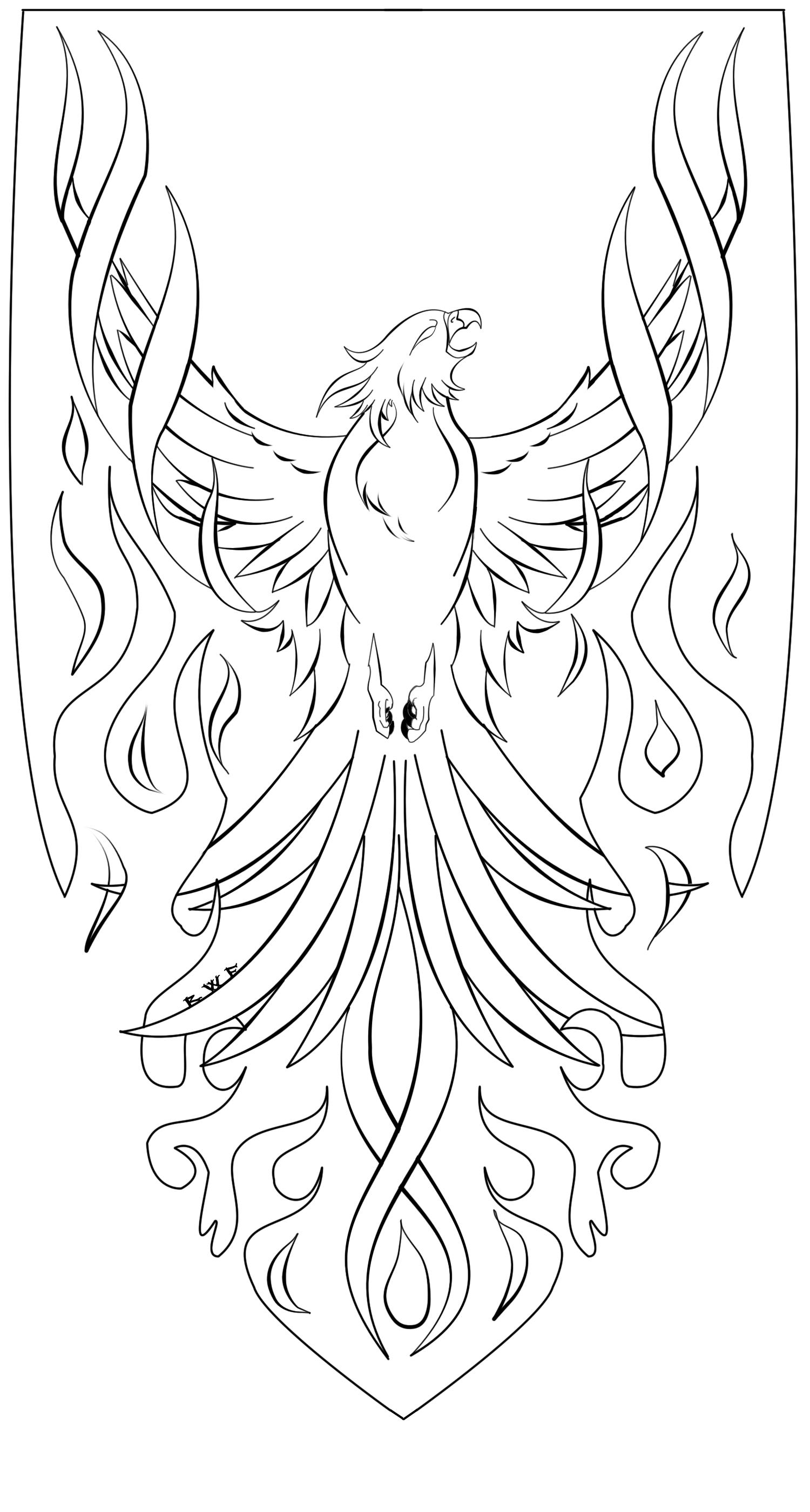 phoenix_lineart_by_ravenwhitefang-d4vfhrm.png (1500×2800)   Coloring ...